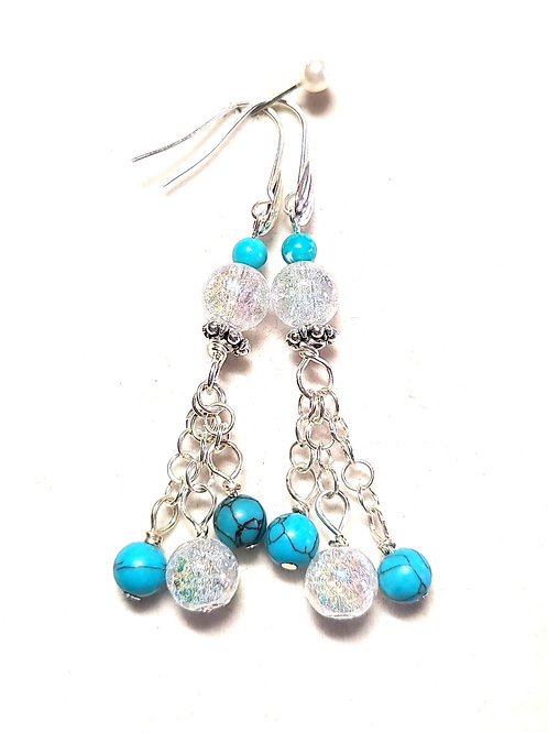 Turquoise/Crackle Quartz Earrings