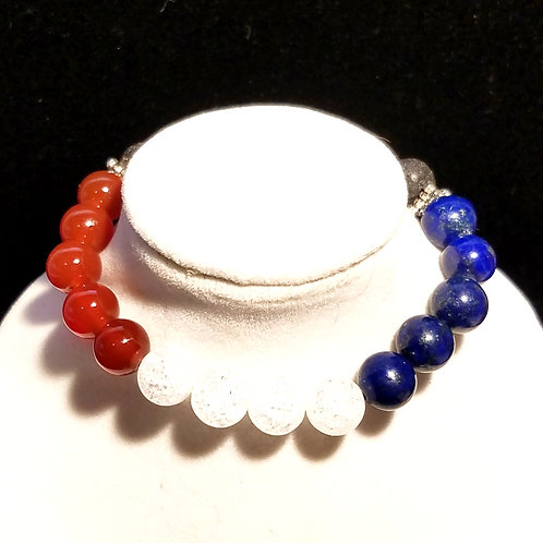 Red, White & Blue Diffuser Bracelet - Medium