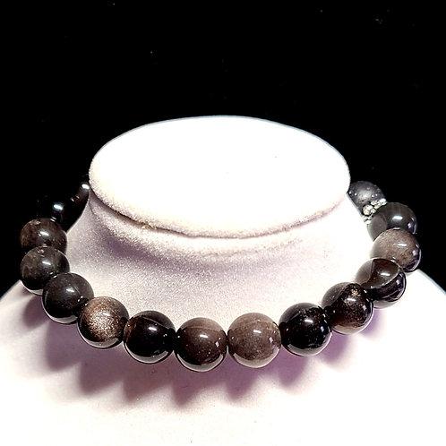 Silver Sheen Obsidian Diffuser Bracelet - Medium