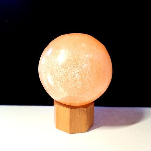Peach Selenite Sphere w/stand