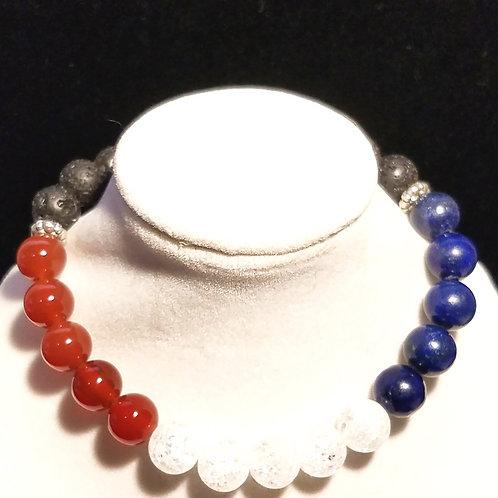 Red, White & Blue Diffuser Bracelet -Large