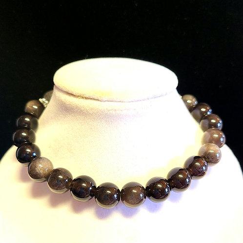 Silver Sheen Obsidian Diffuser Bracelet - Large
