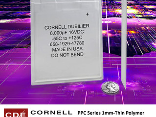 1mm Polymer Aluminum Capacitor from Cornell Dubilier