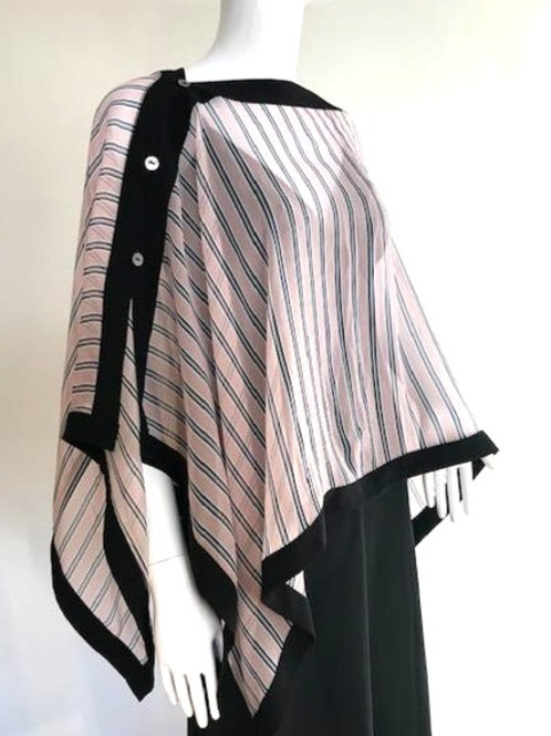 Silk Chiffon Wrap - Pink Stripe + Black