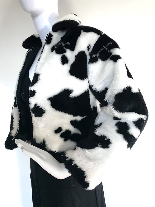 Vintage Fluffy Cow print Jacket - Medium