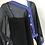 Thumbnail: Silk Chiffon Wrap - Black pin stripe + Purple paisley