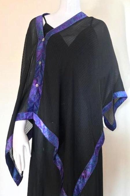 Silk Chiffon Wrap - Black pin stripe + Purple paisley