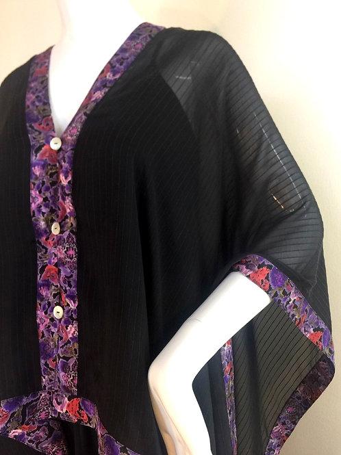 Silk Chiffon Wrap - Black Pin Stripe +Red and Purple print