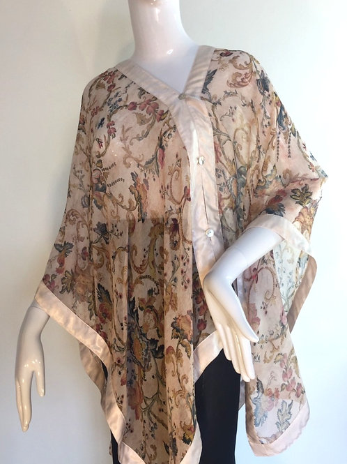 Silk Chiffon Wrap - Antique print +Champagne