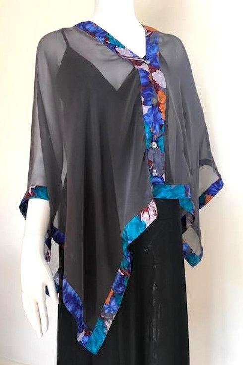 Silk Chiffon Wrap - Charcoal Grey +Blue & teal