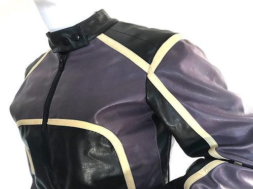 Vintage purple and black motorcycle jacket - Small