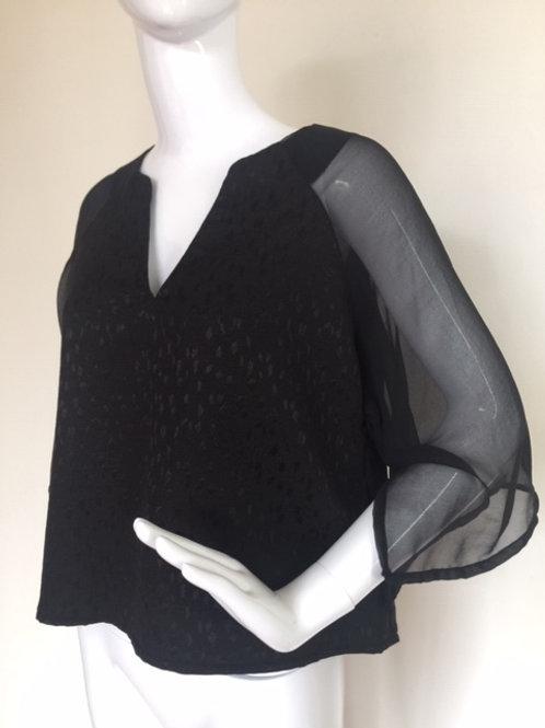 # 311 - Black Kimono with Chiffon sleeves - S