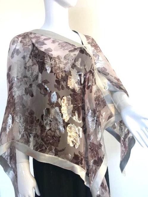 Silk Chiffon Wrap - Blush Pink Roses+ Silver