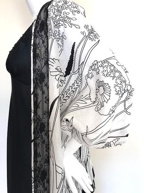 Kimono #130 - White & black floral garden -Medium
