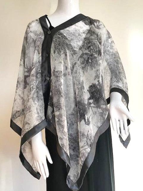 Silk Chiffon Wrap - Grey Mist + Silver