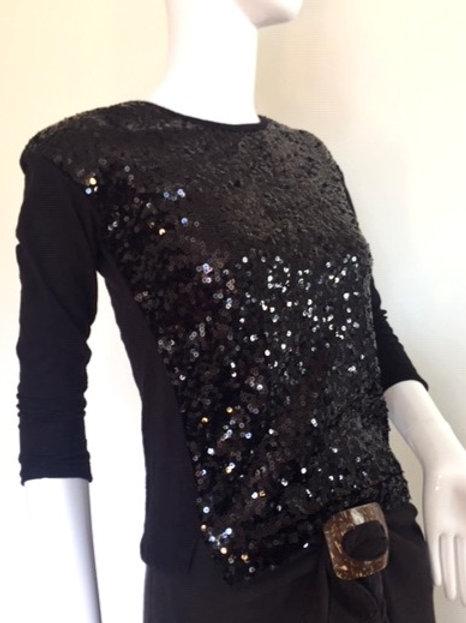 Black Sequin Top - Small - Medium