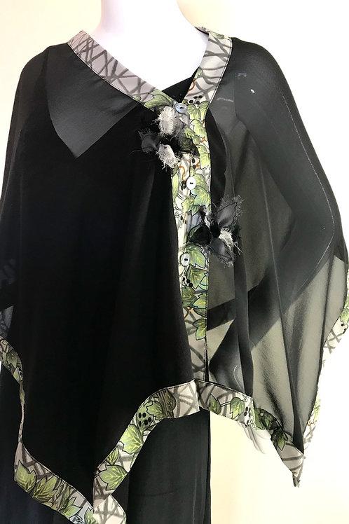 Black Silk Chiffon wrap + ivy print