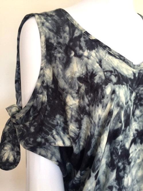 Cold Shoulder Kaftan - Smokey grey + Black Tie Dye -X-Large