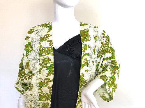 Kimono #129 - Retro green '70's print - Large