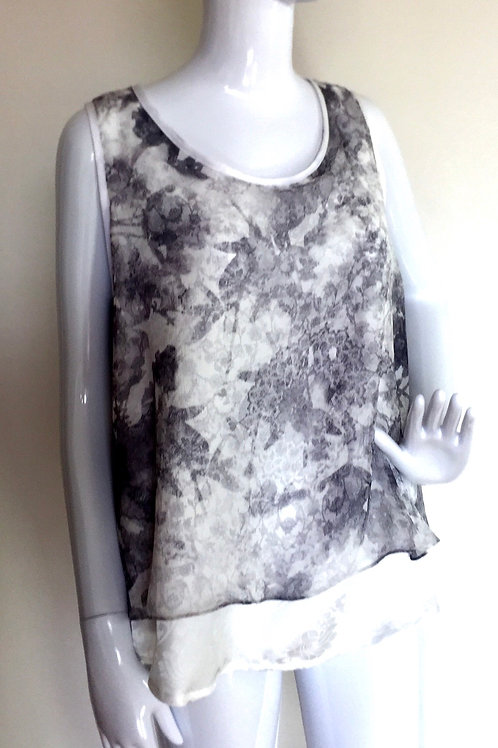 #312 - Singlet Top: White Damask & Grey Chiffon - S