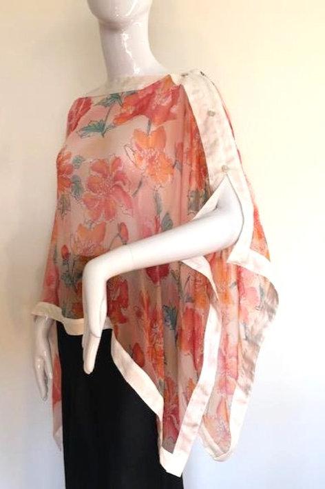 Silk Chiffon Wrap - Peach Mist  + Cream