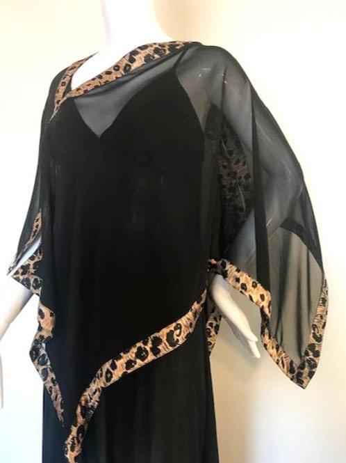 Silk Chiffon Wrap - Black +Fur print