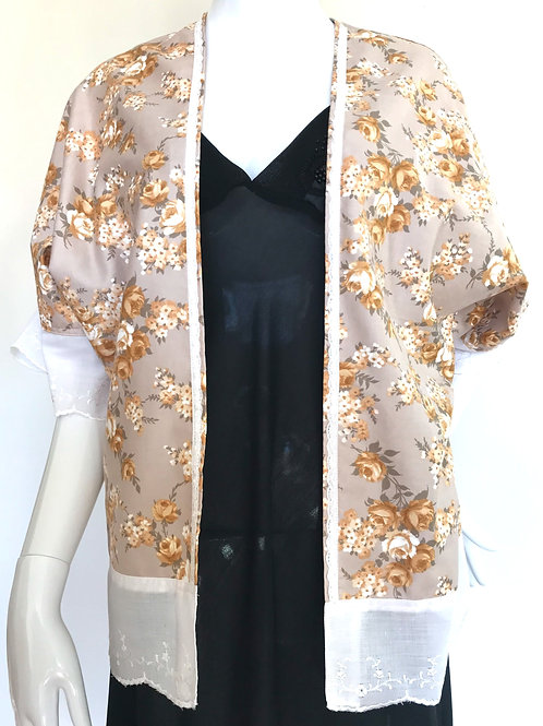 Kimono #127 - Bronze rose print - Small