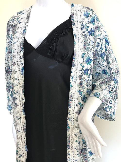 Kimono #125 - Blue & White Paisley Floral print - Large