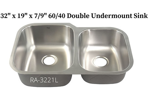 18g Stainless Double 60/40 Undermount Sink