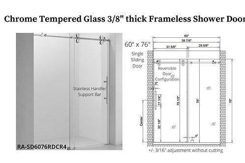 """60"""" x 76"""" Chrome Frameless Shower Door w/ Tempered Glass"""