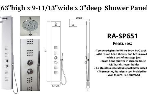 "63"" x 9-11/13"" x 3"" Shower Panel w/ 2 massage Jets"
