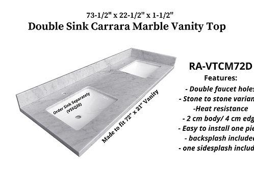 "73-1/2"" x 22-1/2"" Carrara Marble Double Vanity Top"
