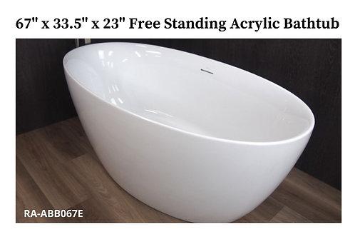 """67"""" x 33.5"""" x 23"""" Free Standing Acrylic Tub"""