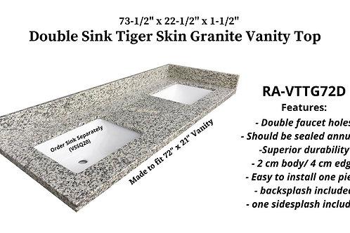 "73-1/2"" x 22-1/2"" Tiger Skin Double Granite Vanity Top"