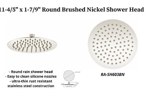 """11-4/5"""" Brushed Nickel Round Rain Shower Head"""