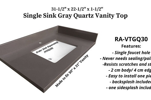 """31-1/2"""" x 22-1/2"""" Gray Quartz Single Vanity Top"""