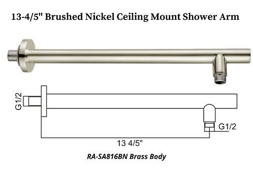 "13-4/5"" Brushed Nickel Wall Mount Round shower Arm"