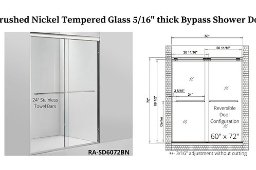 """60"""" x 72"""" Brushed Nickel Bypass Shower Door w/ Tempered Glass"""
