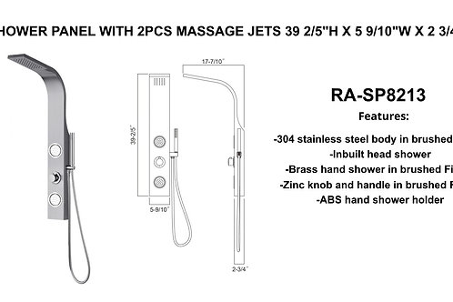 "39-2/5"" x 5-9/10"" x 2-3/4"" Shower Panel w/ 2 massage Jets"