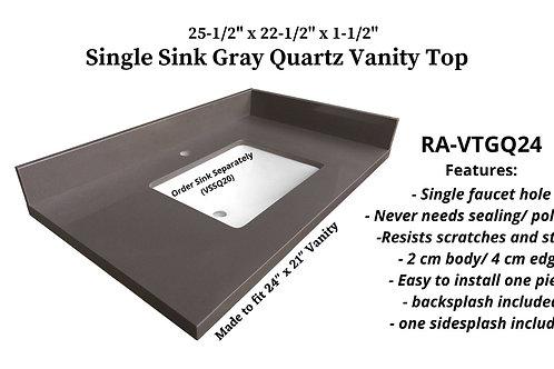 """25-1/2"""" x 22-1/2"""" Gray Quartz Single Vanity Top"""