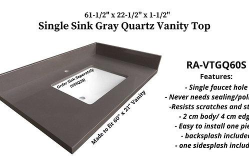 """61-1/2"""" x 22-1/2"""" Gray Quartz Single Vanity Top"""
