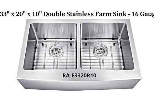 16g Stainless Double Handmade Farm Sink