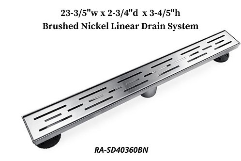 "23-3/5"" Brushed Nickel Linear Drain System"