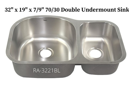 18g Stainless  Double 70/30 Undermount Sink