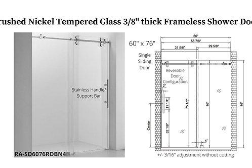 "60"" x 76"" Brushed Nickel Frameless Shower Door w/ Tempered Glass"