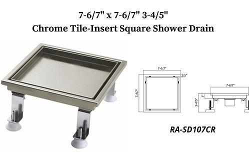 """7- 6/7"""" Chrome Tile Insert Square Shower Drain"""