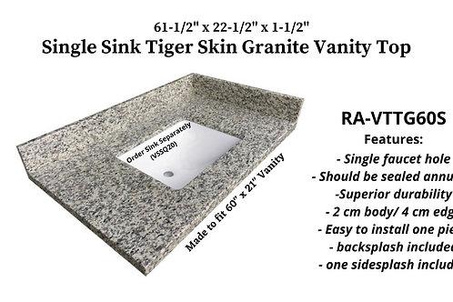 """61-1/2"""" x 22-1/2"""" Tiger Skin Single Granite Vanity Top"""