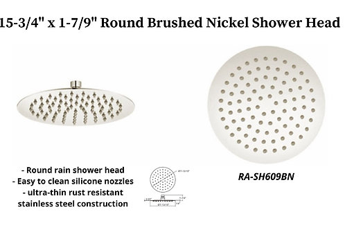 """15-3/4"""" Brushed Nickel Round Rain Shower Head"""