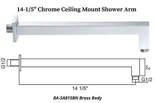 """14-1/5"""" Chrome Wall Mount Square shower Arm"""