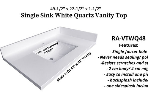 "49-1/2"" x 22-1/2"" White Quartz Single Granite Vanity Top"